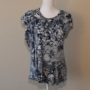 IVANKA TRUMP Blue Floral ruffle Top Size Medium